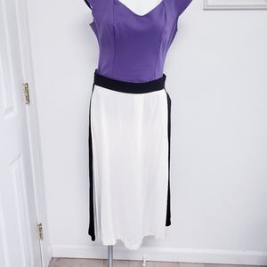 ZARA contrasting black & oyster white long skirt